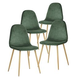 Green Forest Dining Chairs for kitchen,Elegant Velvet Back and Cushion, Mid Century Modern Side  ...