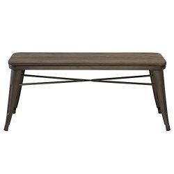 !nspire 401-197GM Industrial Double Bench, Wood/Metal, Gunmetal