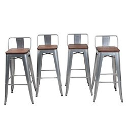 HAOBO Home 30″ Low Back Metal Counter Stool Height Bar Stools With Wooden Seat [Set Of 4]  ...