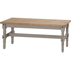 Manhattan Comfort Jay Collection Traditional Wooden Dining Table Bench With Trim Finish, Gray/Wood