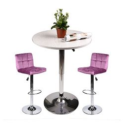 Pub Table with Bar Stools Set for Kitchen Home Dining Room (Amaranth Set D)
