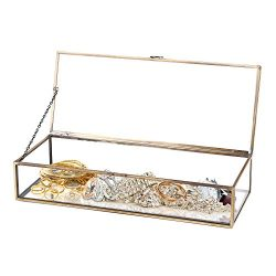 Vintage Style Brass Metal & Clear Glass Mirrored Shadow Box Jewelry Display Case w/ Hinged T ...