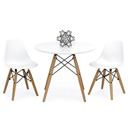 Best Choice Products Kids Mid-Century Modern Eames Style Dining Room Round Table Set w/2 Armless ...