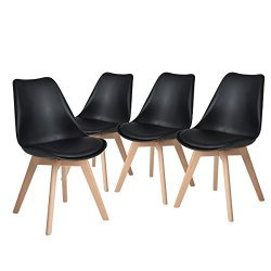 H.JWeDoo Modern Dining Chairs Set of 4,Tulip Kitchen Chairs Eiffel Side Chair Leather Cushion So ...