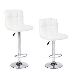 Mecor New Reinforced Design Leather Bar Stools Adjustable Swivel Hydraulic Square Dining Chairs  ...