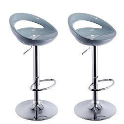 Duhome 2 PCS Swizzle Gloss Finish Crescent Shape Adjustable Swivel Bar Stools Kitchen Counter To ...
