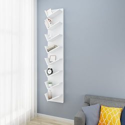 Modrine 8-Tier Ladder Shelf Bookcase Wall Mounted DIY Book CD DVDS Media Cabinet Book Shelf Disp ...