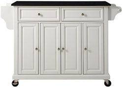 Crosley Furniture Rolling Kitchen Island with Solid Black Granite Top – White