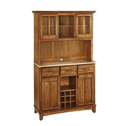 Home Styles 5100-0061-62 Buffet of Buffets Natural Wood Top Buffet with Hutch, Cottage Oak Finis ...