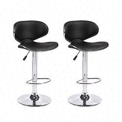 Mecor Adjustable Swivel Leather Bar Stools Hydraulic Counter Height Kitchen Dining Chairs with C ...