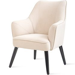 Harper&Bright Designs Fabric Accent Chair Contemporary Style Arm Chair Metal and Legs (Beige)