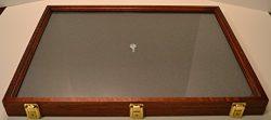 Two Timbers Display Case Oak with Cherry Finish 2″x18″x24″ Handmade Wood Box w ...