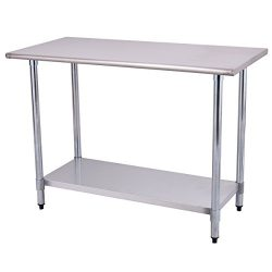 Goplus Stainless Steel Work Table Prep Work Table for Commercial Kitchen Restaurant (24″ x ...