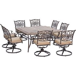 Hanover Traditions 9 Piece Square Dining Set with Swivel Dining Chairs and a Large Dining Table, ...