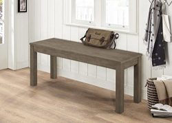 WE Furniture Aged Grey Homestead Wood Dining Bench – 48″