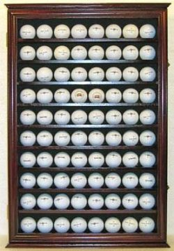 80 Novelty/Souvenir Golf Ball Display Case Holder Cabinet, (Mahogany Finish)