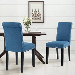 LSSPAID Dining Chair Set of 2 Fabric Padded Side Chair with Solid Wood Legs, Nailed trim(BLUE)