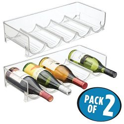 mDesign Stackable Wine and Water Bottle Rack for Kitchen Countertops, Pantry, Fridge – Pac ...