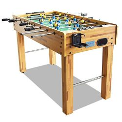 T&R sports 48″ Soccer Foosball Table Heavy Duty for Pub Game Room with Drink Holders, Oak