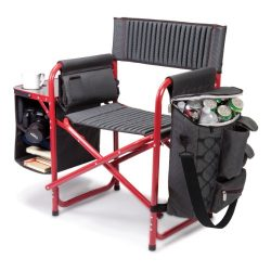 Picnic Time Fusion Original Design Outdoor Folding Chair, Gray with Red Frame