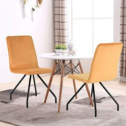GreenForest Dining Chairs Velvet Cusion Wood Transfer Metal Legs Dining Room Chairs Set of 2, Ye ...