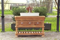 "Craftsman Style 54"" Reclaimed Wood Kitchen Island Barn Wood Bath Vessel Farm Sink Package"