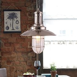 MSTAR 1-Light E26 Fisherman Style Industrial Vintage Hanging Pendant Light Fixture for Dining Ro ...