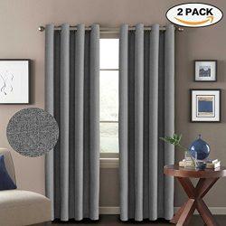 H.VERSAILTEX Room Darkening Thermal Insulated Grey Curtains Textured Rich Linen Window Treatment ...