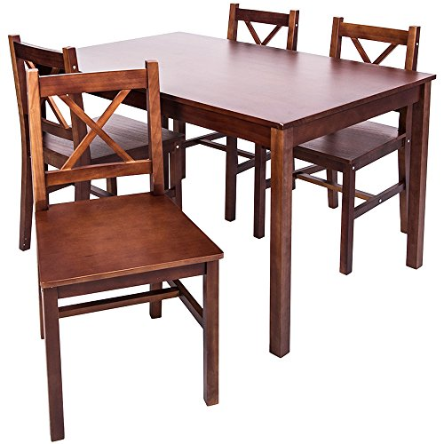 Merax 5 PC Solid Wood Dining Set 4 Person Table And Chairs