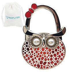 Pearl Eyes Night Owl Style Shoulder Handbag Hangers Folding Purse Holder Hooks (Red Dot)