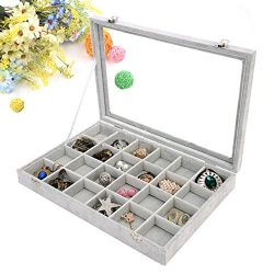 Wuligirl Ice Velvet 24 Grid Jewelry Tray Box Removable Display Case Organizer Glass Top with Lid ...