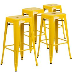 """Flash Furniture 4 Pk. 30"""" High Backless Yellow Metal Indoor-Outdoor Barstool with Square Seat"""