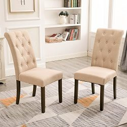Merax Aristocratic Style Dining Chair Noble and Elegant Solid Wood Tufted Dining Chair (Set of 2)