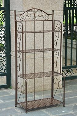 International Caravan 4-Tier Iron Indoor/Outdoor Bakers Rack (Brown)
