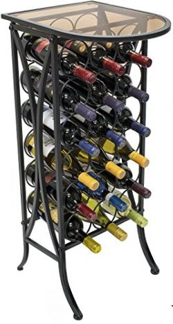 Sorbus Wine Rack Stand Bordeaux Chateau Style with Glass Table Top – Holds 18 Bottles of Y ...