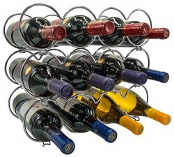Sorbus 3-Tier Stackable Wine Rack – Round Classic Style Wine Racks for Bottles – Per ...