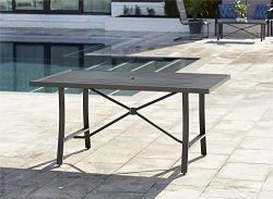 Cosco 88409BRGE Outdoor Living Smarconnect Dining Patio Table, Charcoal Gray, Gray Beige