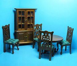 Dollhouse Miniature Dining Room Set with Corner Hutch in Walnut T – My Mini Fairy Garden D ...