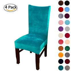 Colorxy Spandex Fabric Stretch Dining Room Chair Slipcovers Home Decor Set of 4, Peacock Green
