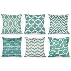 Pillow Cases 6 PC / Set Home Decorative Pillowslip Cotton Linen Sofa Cushion Throw Blue Pillow S ...