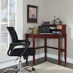 Corner Laptop Writing Desk with Optional Hutch – Cherry