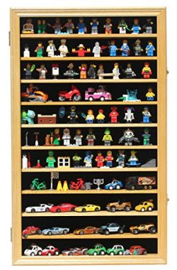 Minifigures Miniature Figures Display Case Wall Curio Cabinet (Oak Finish)