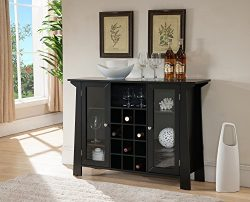 Black Wood Wine Rack Sideboard Buffet Display Console Table With Glass Cabinet Storage Doors &am ...