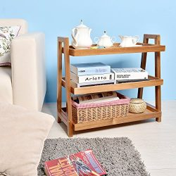 WELLAND End Tables 3-Tier Acacia Wine Rack Wooden Stand Living/Study Room/Bathroom/ Kitchen Stor ...