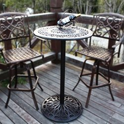 HOMEFUN Outdoor Bar Height Table Bistro Pub Table Cast Aluminum High Round Top Patio Bar Table ( ...