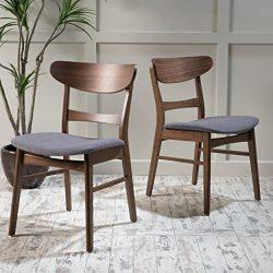 GDF Studio Helen Mid Century Modern Dining Chair (Set of 2) (Dark Grey w/Walnut Finish)
