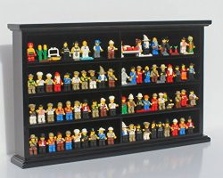 Kid-Safe Toy Minifigures Miniatures Figurines Display Case Wall Cabinet Stand, Solid Wood (Black)