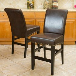 Great Deal Furniture Clifton Brown Leather Counter Stools w/Brass Nailheads (Set of 2)
