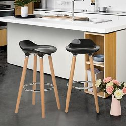 WOHOMO Kitchen Counter Height Bar Stools 32 Inches Black Set of 2 Tall Barstools for Home Bar Ki ...