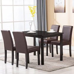 Mecor 5 Piece Dining Table Set Wood Table/4 Leather Chairs Kitchen Room Breakfast Furniture (Brown)